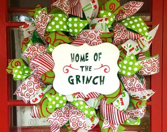Grinch inspired home of the Grinch Christmas Wreath, Grinch Stole Christmas Wreath, Grinch Home Decor, Christmas Mesh Wreath