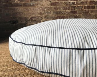 Navy Blue Ticking Stripe Dog Bed Cover - Six colors and monogram option.