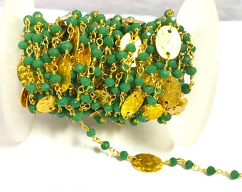 5 Foot Green Chalcedony Beaded Rosary Coin Chain, Gold Plated Rosary chain, Stone Chain 3-4 mm Beaded Chain
