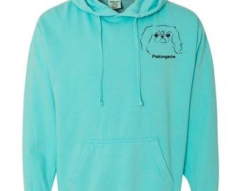 Pekingese Garment Dyed Hoodie Sweatshirt