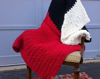 """chunky blanket, large throw, red striped sofa blanket 57""""x 57"""""""