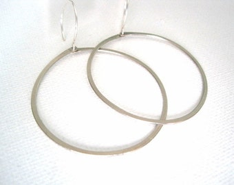 Simple Modern Hoop Earrings - you choose brass or silver