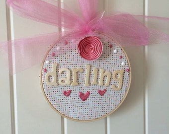 little girl darling embroidery hoop ... unique and adorable polka dot wall art with hearts and bow