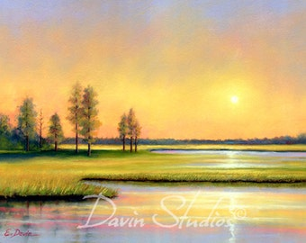 Marsh painting, sunrise on the marshland, wetlands, signed art print of original pastel painting by Eleanor Davin