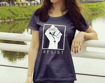 """Feminist Shirt: """"RESIST"""" Protest and Resistance Shirt (multiple colors) by Fourth Wave feminist apparel, handmade, soft, great gift!"""