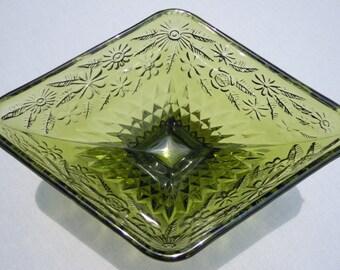 Olive Green Pressed Glass Diamond Shaped Pedestal Dish Bowl Vintage