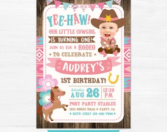 Cowgirl invitation etsy cowgirl invitation with picture pony birthday invitation girl first birthday invitation horse party filmwisefo Images