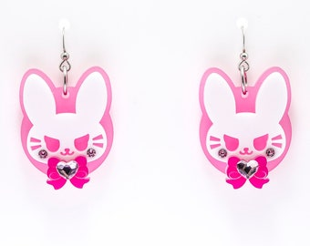 Bad Buns in Pink Laser Cut Acrylic D.Va Overwatch Inspired Earrings