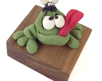 Frog and Fly, Hand Made OOAK Original Polymer Clay Figurine