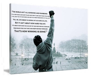 """Rocky Balboa Movie Framed Canvas Art Picture 12"""" x 8"""" Ready To Hang"""