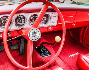 Plymouth Steering Wheel  Car Photography, Automotive, Auto Dealer, Classic, Muscle, Sports Car, Mechanic, Boys Room, Garage, Dealership Art