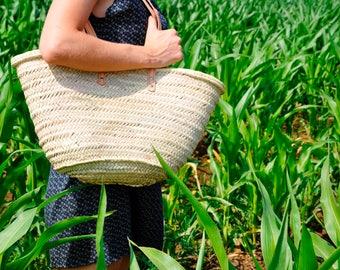 straw bag Handmade with long handles (zipper closure)- Summer bag, straw bag, french market basket, straw bag, market bag