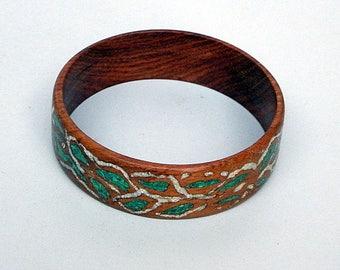 Wood Bangle Bracelet with Green Malachite and White Magnesite