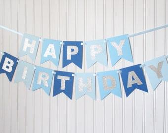 Silver Navy Blue Green Happy 1st Birthday Banner Boy