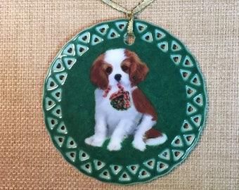 Cavalier King Charles Spaniel Puppy Mistletoe Ornament