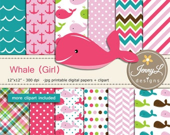 Whale Girl Digital papers and Clipart SET, Anchor, water wave, Animal for Birthday, Baby Shower, baptism Scrapbookin, Planner