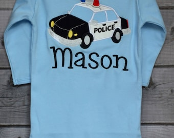 Personalized Police Man Hat Initial Applique Shirt or bodysuit Boy or Girl