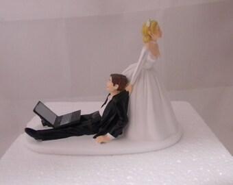 Wedding Reception Party Laptop Computer Nerd Geek Cake Topper