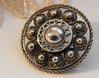 Filigree Silver Pierced Button