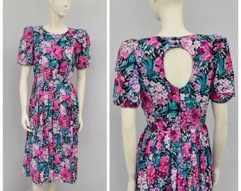 Vintage 80s Black Floral Midi Dress, Keyhole Back Dress, Puff Sleeve Dress, Cotton Dress, Tea Length Pleated Dress, Full Skirt Dress