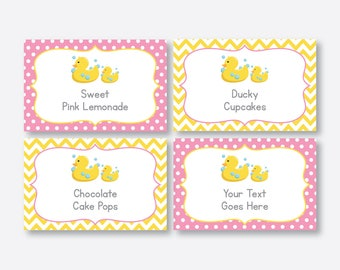 Instant Download, Editable Rubber Duck Food Labels, Duck Baby Shower Food Labels, Duck Food Tags, Buffet Card, Duck Printable,Yellow(SBS.68)