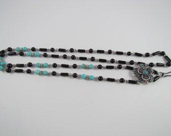 310 - Unique Black & Turquoise Lanyard w/Flower Focal #2