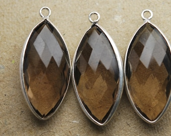 92.5 Silver Smoky Quartz Faceted Long Marquise ,4 Piece of 28mm