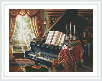 Piano Counted Cross Stitch Pattern - Large Cross Stitch Chart - Music Cross Stitch - DMC Cross Stitch Design - Printable PDF Download
