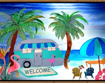 Welcome to our  retro air stream beach camper indoor-outdoor floormat, available in 4 sizes