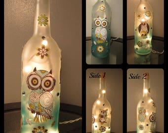 Owl Wine Bottle Night Light