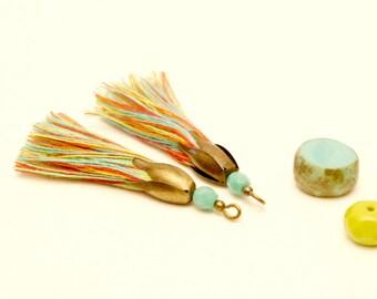 2 multicolored tassel, Turquoise bead, 45 mm, tassel is handmade, Bronze, tassel pendant, Tassel charm