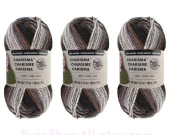 ASHES 3 Pack Bulk Buy! Bulky Charisma Loops and Threads Yarn. Grey / Brown Ombre Yarn, Thick Variegated Chunky Soft Acrylic Yarn. 3 skeins √