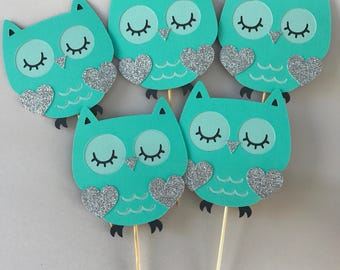 Aqua Owl cupcake toppers, agua owl baby shower, owl birthday, owl party, owl baby shower