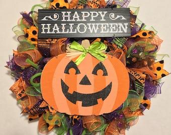 Halloween Wreath, Halloween Wreaths, Wreath, Fall Wreaths, Wreaths, pumpkin wreath, Halloween, Halloween door wreath, Mesh Halloween wreath