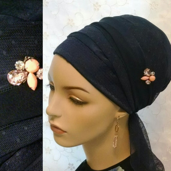 Navy blue dotted lace sinar tichel with pin, tichels, head scarf, head wrap, Jewish haead covering, hair snood, mitpachat, chemo scarf
