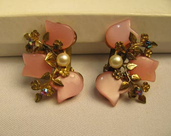 Vintage pink Thermoset clip on earrings