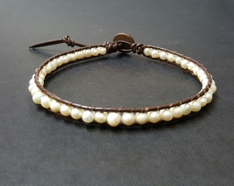 Pearl Bean  Brown Leather Anklet