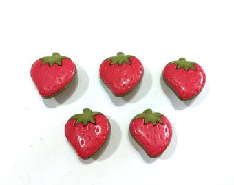 """Strawberry Buttons Galore (7/8"""") Berry Patch Set of 5 Shank Back Crafting Scrapbooking Supplies - 190 A"""