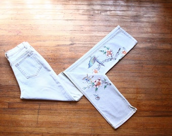 high waisted jeans   hand painted flowers and butterfly light blue jeans   floral boho hippie pants [ size 2 / 4 ]