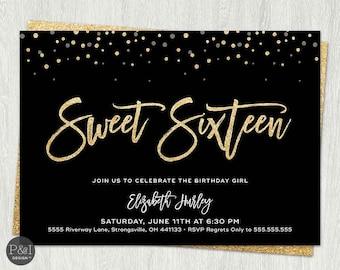 Sweet Sixteen Birthday Invitation | Customized Printable Digital File (5x7)