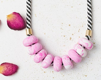Modern Chunky necklace, Polymer clay necklace, Pink Beaded necklace, Urban jewelry, Statement necklace geometric gift, Geometric necklace
