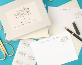 Personalised Tree Notecards Writing Set