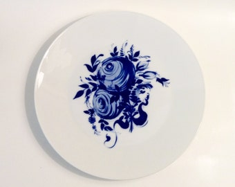 Vintage Rosenthal 'studio-linie' Platter, Germany, Blue and White, Romance Rhapsody Bjorn Wiinblad