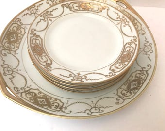 Vintage Set of (6) Nippon Hand Painted Cake Plate and Desert Plates -Gold Encrusted Design- Moriage -circa 1911
