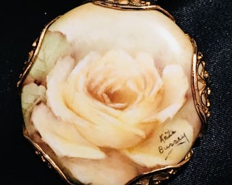 Vintage Hand Painted Porcelain Rose Flower Brooch Miniature Painting Portrait Pin Pendant for Necklace  By Kate Bussey