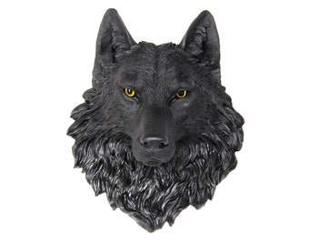 Wolf Head Wall Mount - Wolf Head Wall Mount in Black with Natural Looking Yellow/Hazel Eyes - Faux Taxidermy Wolf Wall Art - W1700Y