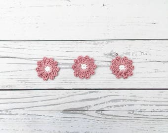 crochet pink daisy flower, crochet flower motif, pink white flower, wedding decoration, crochet daisies