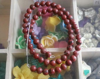 yarn of 60 beads of Red Jasper 6mm diameter, hole 1 mm