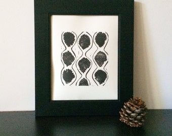 Abstract Linocut in Hollywood Regency style in black 8x10 poster