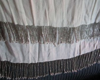 Vintage long cream-colored beaded scarf